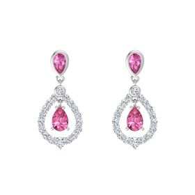 Pear Pink Tourmaline Sterling Silver Earrings with Pink Sapphire & Diamond