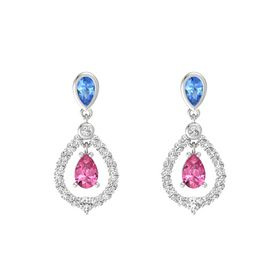 Pear Pink Tourmaline Sterling Silver Earrings with Blue Topaz & White Sapphire