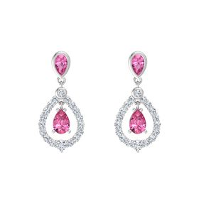 Pear Pink Tourmaline Sterling Silver Earrings with Pink Tourmaline & Diamond
