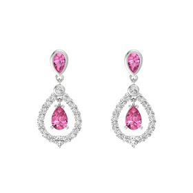 Pear Pink Tourmaline Sterling Silver Earring with Pink Tourmaline and White Sapphire