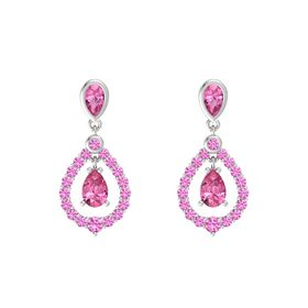 Pear Pink Tourmaline Sterling Silver Earring with Pink Tourmaline and Pink Sapphire