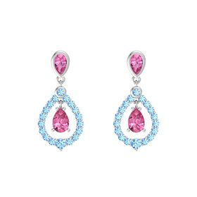Pear Pink Tourmaline Sterling Silver Earring with Pink Tourmaline and Blue Topaz