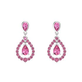 Pear Pink Tourmaline Sterling Silver Earrings with Pink Tourmaline