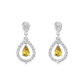 Pear Yellow Sapphire Sterling Silver Earrings with White Sapphire