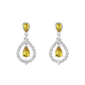 Pear Yellow Sapphire Sterling Silver Earrings with Yellow Sapphire & White Sapphire