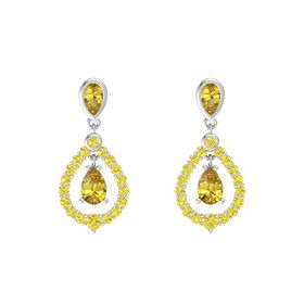 Pear Yellow Sapphire Sterling Silver Earring with Yellow Sapphire