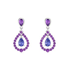 Pear Tanzanite Sterling Silver Earring with Amethyst