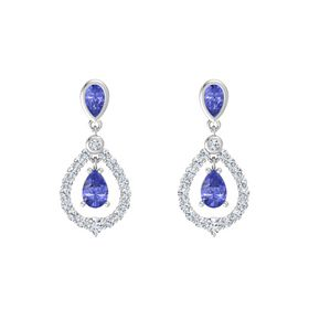 Pear Tanzanite Sterling Silver Earring with Tanzanite and Diamond