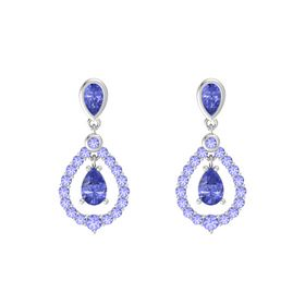 Pear Tanzanite Sterling Silver Earrings with Tanzanite