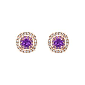 Cushion Amethyst 14K Rose Gold Earring with Amethyst and Diamond