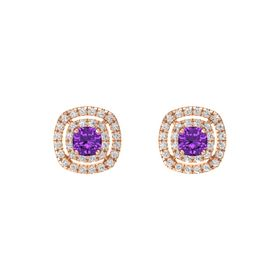 Cushion Amethyst 14K Rose Gold Earring with White Sapphire