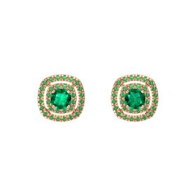 Cushion Emerald 14K Rose Gold Earring with Emerald