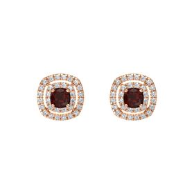 Cushion Red Garnet 14K Rose Gold Earring with Diamond