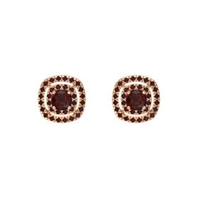 Cushion Red Garnet 14K Rose Gold Earring with Red Garnet