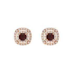 Cushion Red Garnet 14K Rose Gold Earring with White Sapphire