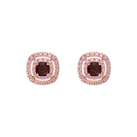 Cushion Red Garnet 14K Rose Gold Earring with Pink Tourmaline