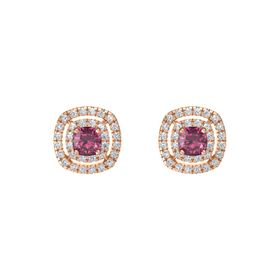 Cushion Rhodolite Garnet 14K Rose Gold Earring with Diamond