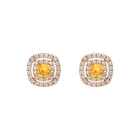 Cushion Citrine 14K Rose Gold Earring with Diamond