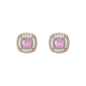 Cushion Pink Sapphire 14K Rose Gold Earring with London Blue Topaz and Blue Topaz