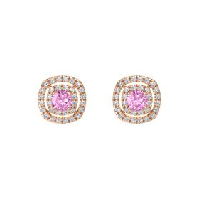 Cushion Pink Sapphire 14K Rose Gold Earring with Diamond