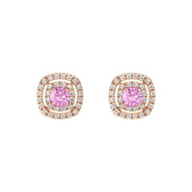 Cushion Pink Sapphire 14K Rose Gold Earrings with Diamond & White Sapphire