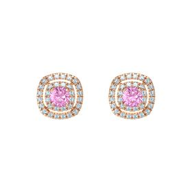 Cushion Pink Sapphire 14K Rose Gold Earring with Aquamarine