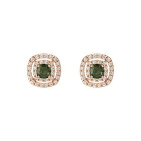 Cushion Green Tourmaline 14K Rose Gold Earring with White Sapphire