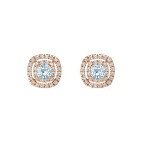 Cushion Aquamarine 14K Rose Gold Earring with Diamond