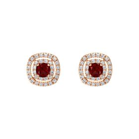 Cushion Ruby 14K Rose Gold Earring with Diamond