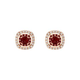 Cushion Ruby 14K Rose Gold Earring with Ruby and White Sapphire