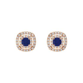 Cushion Blue Sapphire 14K Rose Gold Earring with White Sapphire and Diamond
