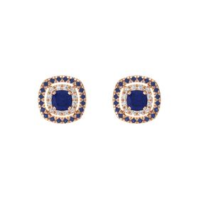 Cushion Blue Sapphire 14K Rose Gold Earring with White Sapphire and Blue Sapphire