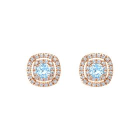 Cushion Blue Topaz 14K Rose Gold Earring with Diamond