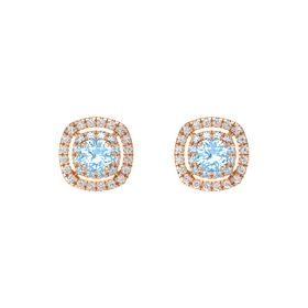 Cushion Blue Topaz 14K Rose Gold Earring with Aquamarine and White Sapphire