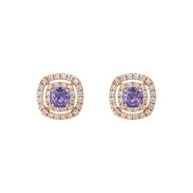 Cushion Iolite 14K Rose Gold Earring with Diamond