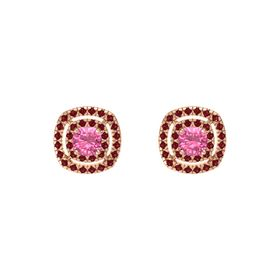 Cushion Pink Tourmaline 14K Rose Gold Earring with Ruby