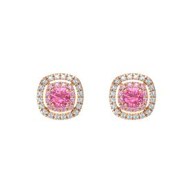 Cushion Pink Tourmaline 14K Rose Gold Earring with Pink Tourmaline and Aquamarine