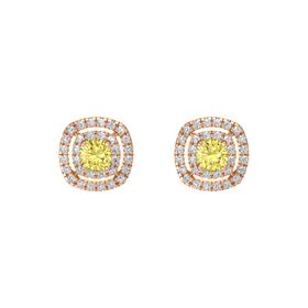 Cushion Yellow Sapphire 14K Rose Gold Earring with Diamond