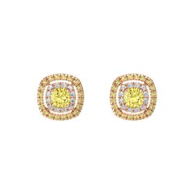 Cushion Yellow Sapphire 14K Rose Gold Earring with Diamond and Yellow Sapphire
