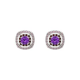 Cushion Amethyst 14K White Gold Earring with Red Garnet and Rhodolite Garnet