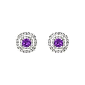 Cushion Amethyst 14K White Gold Earring with White Sapphire