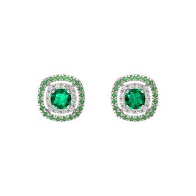 Cushion Emerald 14K White Gold Earring with White Sapphire and Emerald