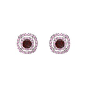 Cushion Red Garnet 14K White Gold Earring with Pink Tourmaline