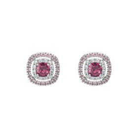 Cushion Rhodolite Garnet 14K White Gold Earring with Diamond and Rhodolite Garnet