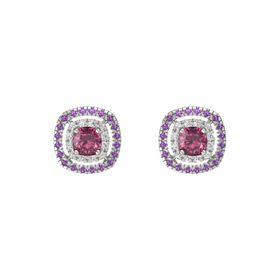 Cushion Rhodolite Garnet 14K White Gold Earring with White Sapphire and Amethyst