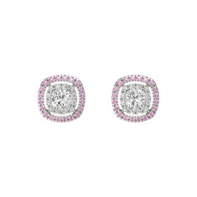 Cushion White Sapphire 14K White Gold Earring with White Sapphire and Pink Tourmaline