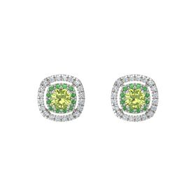 Cushion Peridot 14K White Gold Earring with Emerald and Diamond