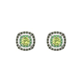 Cushion Peridot 14K White Gold Earring with Emerald and Green Tourmaline