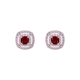Cushion Ruby 14K White Gold Earring with Pink Tourmaline and Pink Sapphire
