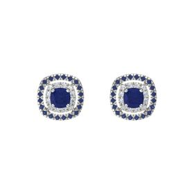 Cushion Blue Sapphire 14K White Gold Earring with Diamond and Blue Sapphire